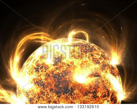 Extreme solar storm or solar flares. Illustration