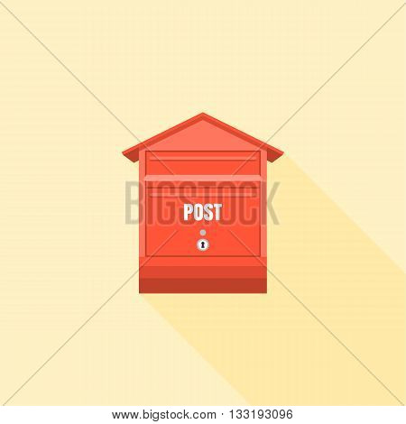 Mail box  post illustration, Post box vector, mail box post isolated with long shadow flat design, Red letter box icon collection set 3