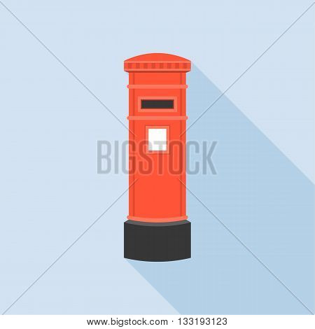 Mail Post box illustration, Post box vector, Mail box post isolated with long shadow flat design, Vintage Red letter post box icon