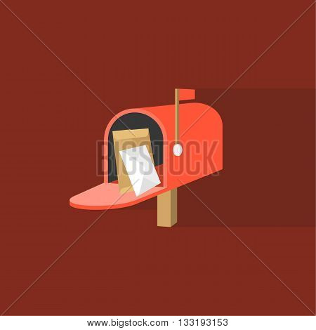 Open Mail box  post illustration, Post box vector, mail box post isolated with long shadow flat design, Red letter box icon with letter and envelope inside