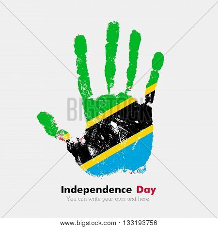 Hand print, which bears the Flag of Tanzania. Independence Day. Grunge style. Grungy hand print with the flag. Hand print and five fingers. Used as an icon, card, greeting, printed materials.