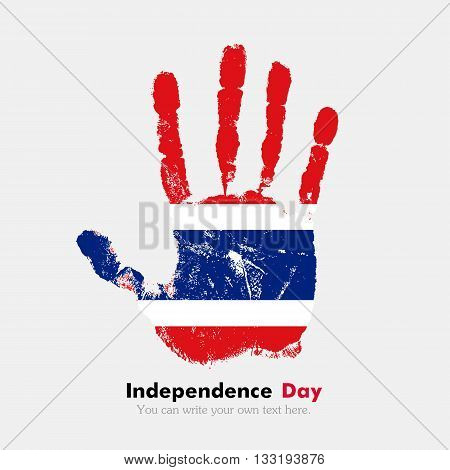Hand print, which bears the Flag of Thailand. Independence Day. Grunge style. Grungy hand print with the flag. Hand print and five fingers. Used as an icon, card, greeting, printed materials.