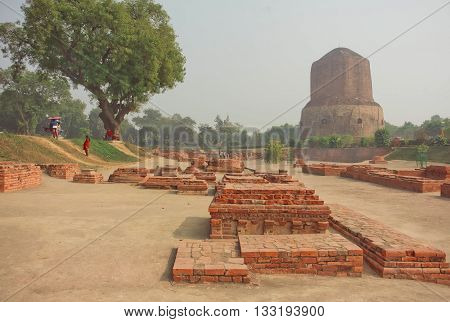 Buddhist landmark ruined temple walls and sacred Dhamekh Stupa in indian Sarnath. Forest where Gautama Buddha first taught the Dharma at 500 BC.