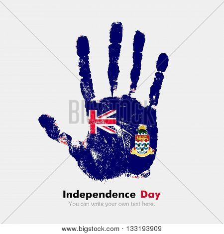 Hand print, which bears the Flag of the Cayman Islands. Independence Day. Grunge style. Grungy hand print with the flag. Hand print and five fingers. Used as an icon, card, greeting, printed materials.