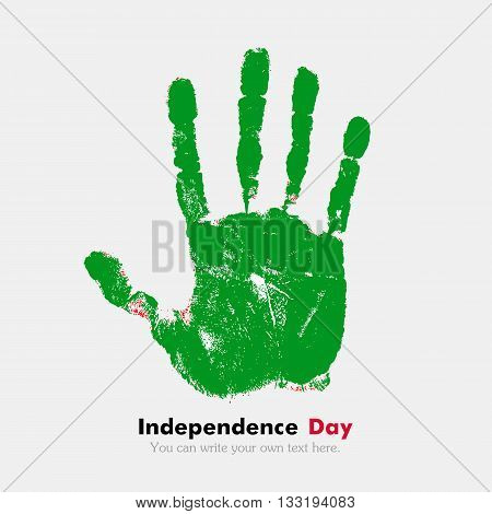 Hand print, which bears the Flag of the Libyan Arab Jamahiriya. Independence Day. Grunge style. Grungy hand print with the flag. Hand print and five fingers. Used as an icon, card, greeting, printed materials.
