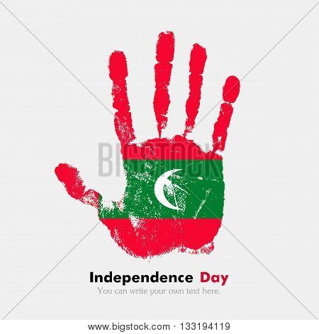 Hand print, which bears the Flag of the Maldives. Independence Day. Grunge style. Grungy hand print with the flag. Hand print and five fingers. Used as an icon, card, greeting, printed materials.