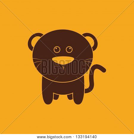 abstract cute cat silhouette on a yellow background