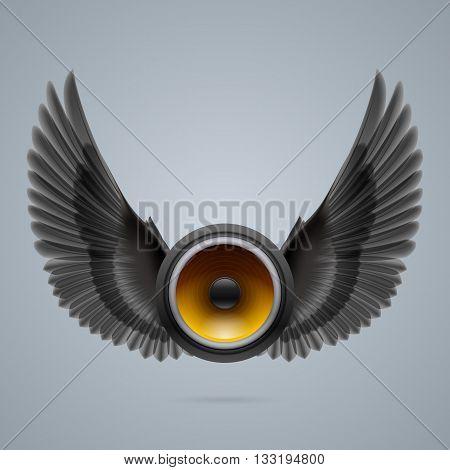 Music speaker with two raised black wings.