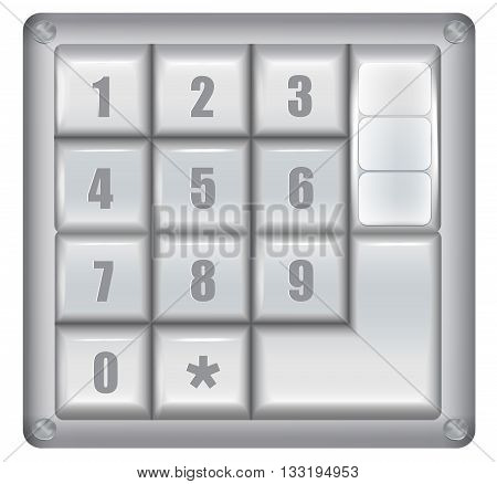Electronical digital security lock. Silver and gray digital security lock with keypad and numbers