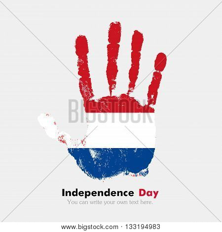 Hand print, which bears the Flag of the Netherlands. Independence Day. Grunge style. Grungy hand print with the flag. Hand print and five fingers. Used as an icon, card, greeting, printed materials.
