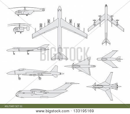Vector illustration. Military aircrafts set: an attack, an interceptor, bomber, a fighter, squadron, a helicopter and long-range aviation.