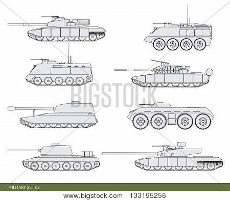 Vector illustration. Military set tanks: a self-propelled gun,  an armored personnel carrier, an infantry fighting vehicle, armored vehicles.
