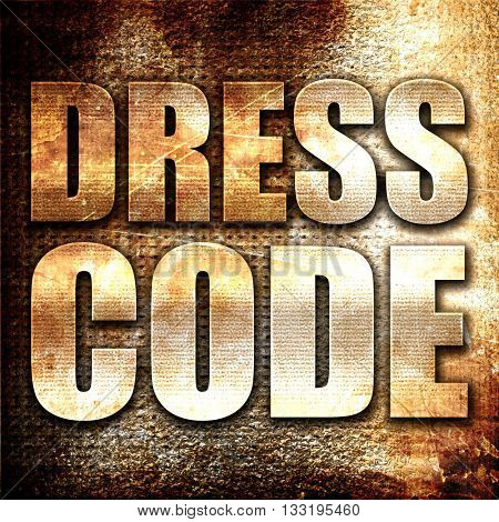 dress code, 3D rendering, metal text on rust background
