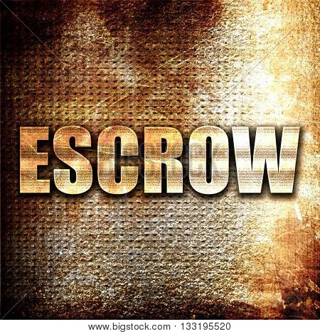escrow, 3D rendering, metal text on rust background