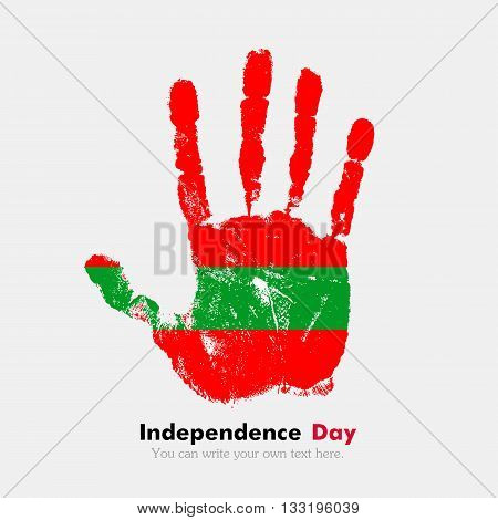 Hand print, which bears the Flag of Transnistria. Independence Day. Grunge style. Grungy hand print with the flag. Hand print and five fingers. Used as an icon, card, greeting, printed materials.