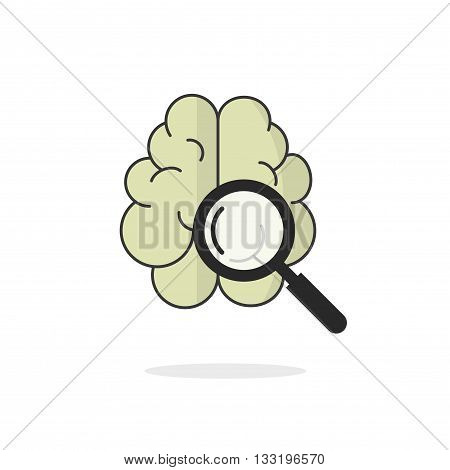 Brain scan vector icon isolated on white, brain scanning with magnifying glass, research concept