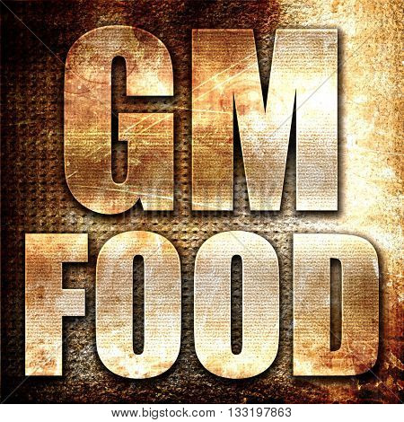 gm food, 3D rendering, metal text on rust background
