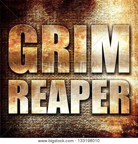 grim reaper, 3D rendering, metal text on rust background