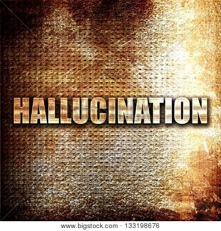 hallucination, 3D rendering, metal text on rust background