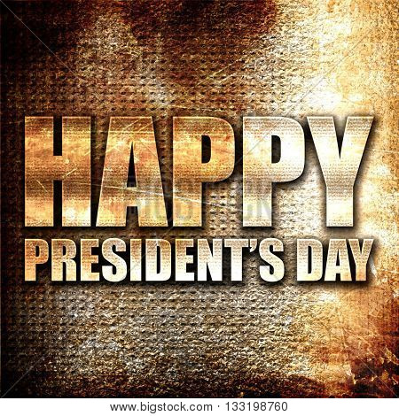 happy president's day, 3D rendering, metal text on rust backgrou