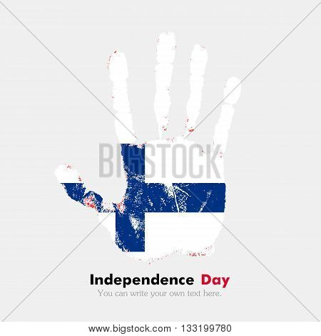 Hand print, which bears the Flag of Finland. Independence Day. Grunge style. Grungy hand print with the flag. Hand print and five fingers. Used as an icon, card, greeting, printed materials.