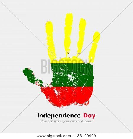Hand print, which bears the Lithuanian flag. Independence Day. Grunge style. Grungy hand print with the flag. Hand print and five fingers. Used as an icon, card, greeting, printed materials.