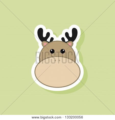 abstract cute deer face on a green background