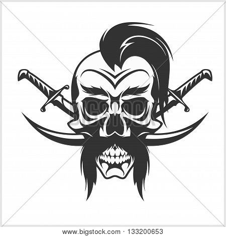 Ukrainian emblem - Cossack skull and crosses sabers. isolated on white. Vintage illustration.