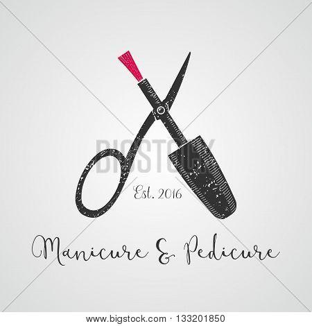 Nails vector logo. Sign design element illustration for manicure salon