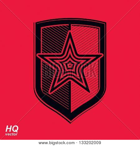 Vector shield with red pentagonal Soviet star protection heraldic blazon.