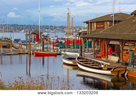 SEATTLE USA - MARCH 22 2016: Center for Wooden Boats on Lake Union on March 22 2016 in Seattle WA USA. Various boats are available for rent to paddle on the Lake Union.