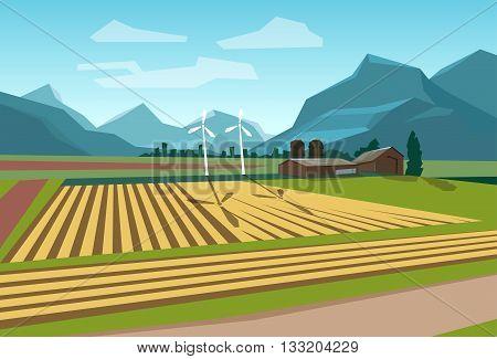 Farm Field With Wind Turbine Alternative Energy Resource Flat Vector Illustration