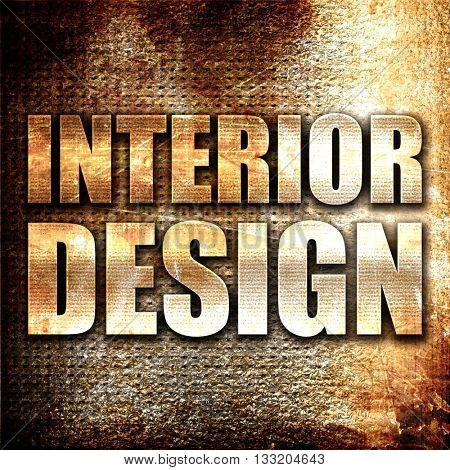 interior design, 3D rendering, metal text on rust background