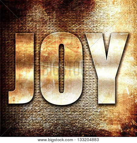 joy, 3D rendering, metal text on rust background