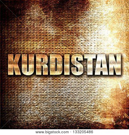Kurdistan, 3D rendering, metal text on rust background