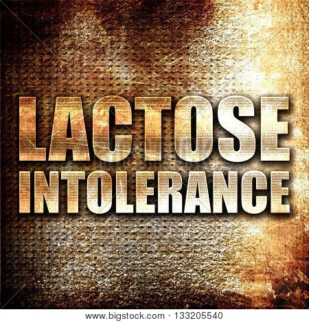 lactose intolerance, 3D rendering, metal text on rust background