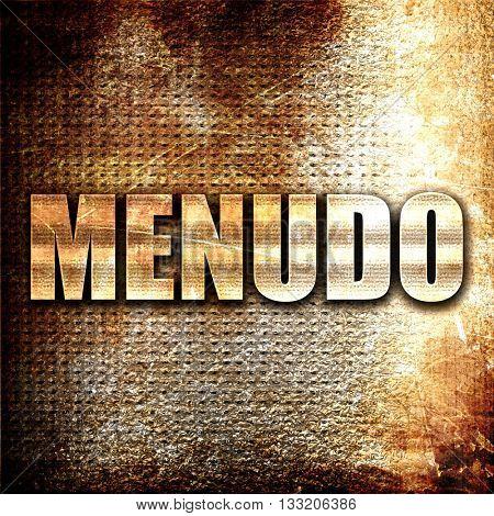 menudo, 3D rendering, metal text on rust background