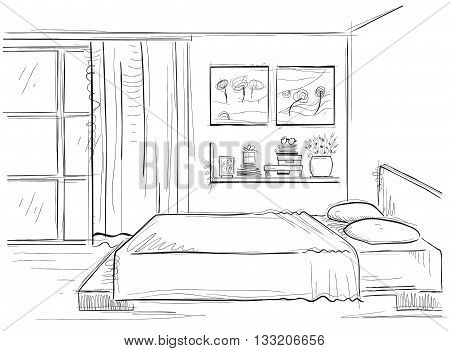 Bedroom Interior.vector Hand Drawing Modern Home Illustration