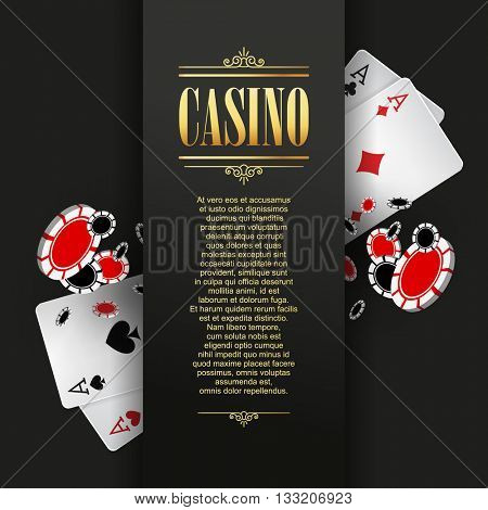 Casino poster or banner background or flyer template. Casino invitation with Playing Cards and Poker Chips. Game design. Playing casino games. Vector illustration.