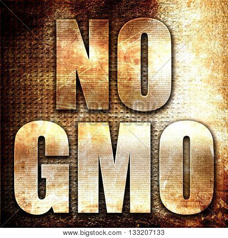 no gmo, 3D rendering, metal text on rust background