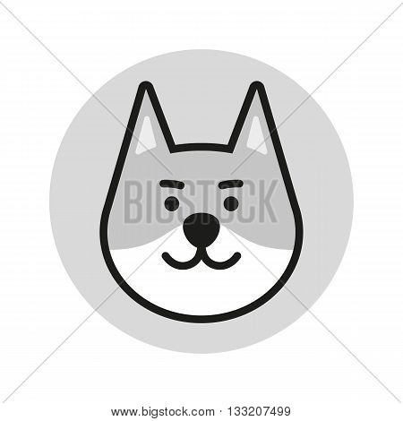 Wolf vector icon. Wolf logo. Wolf Bear Icon. Wolf design Icon. Wolf flat icon. Wolf in circle. Wolf art. Wolf head. Brown Wolf Icon