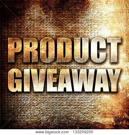 product giveaway, 3D rendering, metal text on rust background