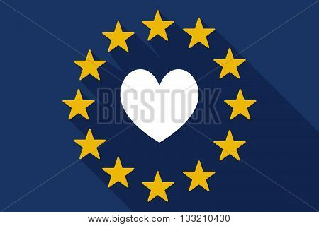Long Shadow Eu Flag With  The Heart Poker Playing Card Sign