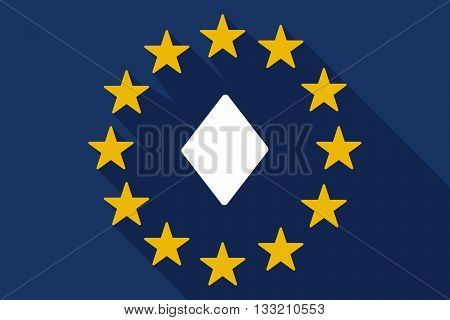 Long Shadow Eu Flag With  The  Diamond  Poker Playing Card Sign