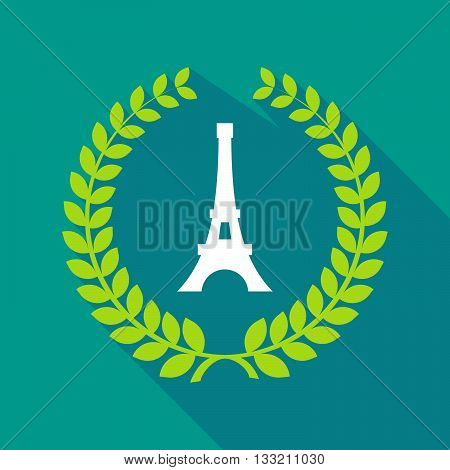 Long Shadow Laurel Wreath Icon With   The Eiffel Tower