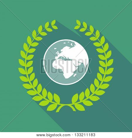 Long Shadow Laurel Wreath Icon With   An Asia, Africa And Europe Regions World Globe