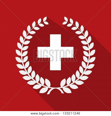 Long Shadow Laurel Wreath Icon With   The Swiss Flag