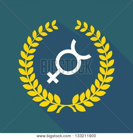 Long Shadow Laurel Wreath Icon With  The Mercury Planet Symbol