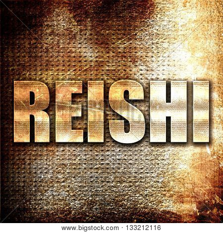 reishi, 3D rendering, metal text on rust background