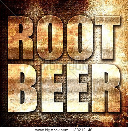 root beer, 3D rendering, metal text on rust background